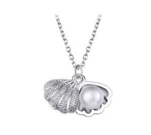 925 Sterling Silver Oyster Pearl & Shell Necklace - MarcOcean  - jewellery  - necklace  - anchor