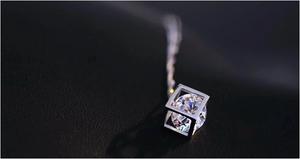 925 Sterling Silver Cube Necklace With Cubic Zirconia - MarcOcean  - jewellery  - necklace  - anchor