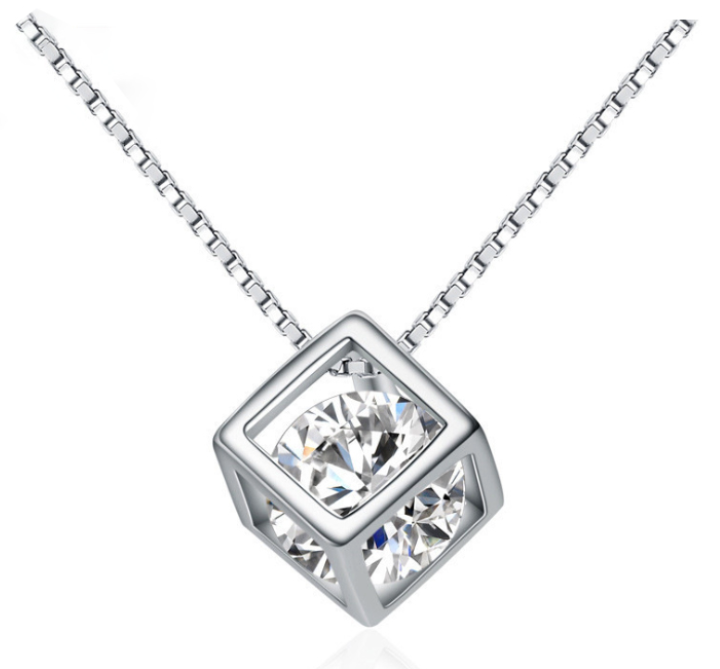 925 Sterling Silver Cube Necklace With Cubic Zirconia - Marc Ocean