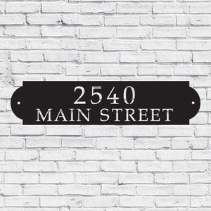 Metal House Address Sign - Horizontal Style 3