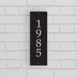 Metal House Address Sign - Vertical Style 4