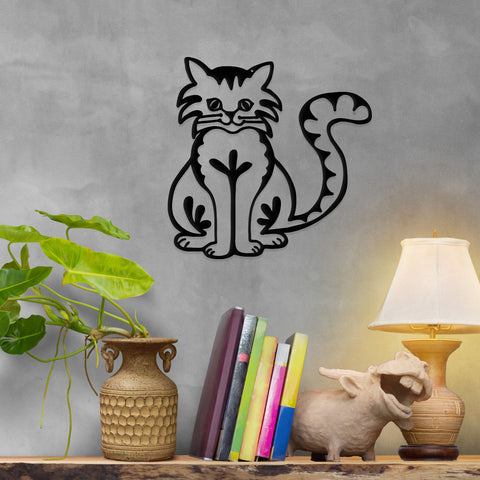 Image of Happy Cat - Metal Wall Art/Decor