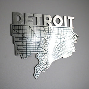 Detroit Map Shaped - Metal Wall Art