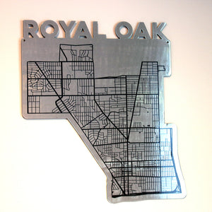 Royal Oak Map Shaped - Metal Wall Art