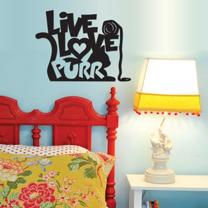 Live, Love, Purr - Metal Wall Art/Decor