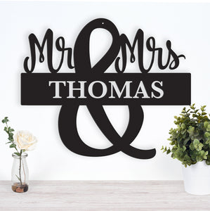 Mr. and Mrs. Monogram - Metal Wall Art/Decor