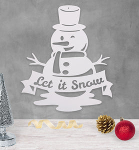 Let It Snow - Snowman - Metal Wall Art/Decor
