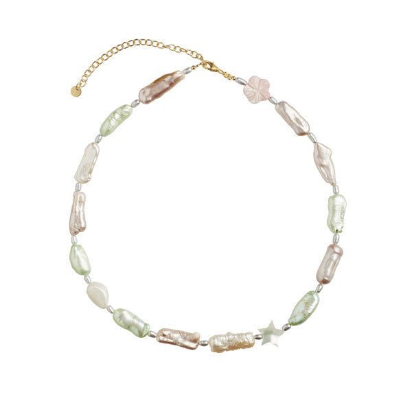 Baroque Pearl necklace with pink,beige and green mix Multicolor