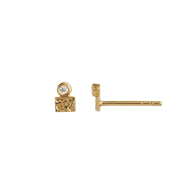 Tres Petit La Mer Earring Gold with Stone Gold