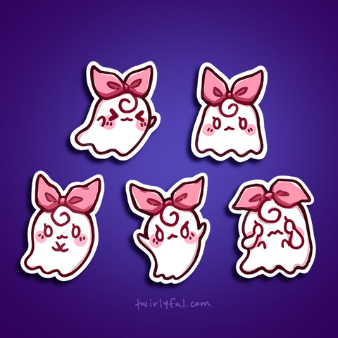 twirlyroll ghost sticker set