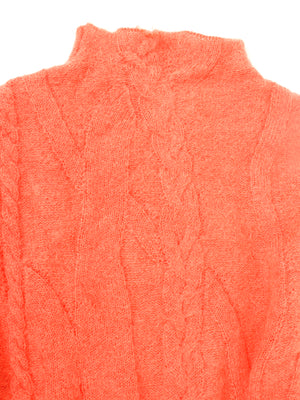 Cable pullover, coral