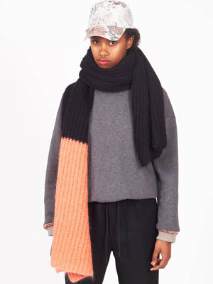 Big plaid scarf, Black & Coral
