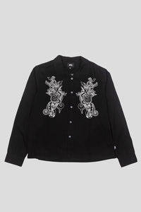 Embroidered Dragon Longsleeve Button-Up