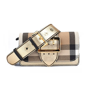 Burberry  Small Buckle Bag in House Check   Leather Gold 40259101 855ad8cc9a543