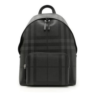 d62262bc2bca   Burberry  Leather Trim London Check Backpack Charcoal 40568911