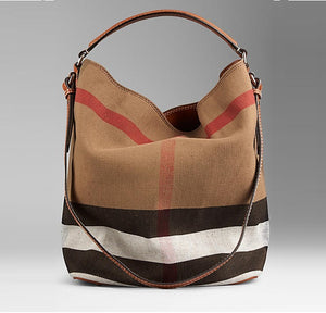 4b2d1c913755   Burberry  The Medium Canvas Check Hobo Saddle Brown 3945742
