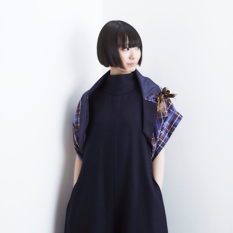 [ORIGAMI] -Check/Navy- popupdress Japan|ポップアップドレス