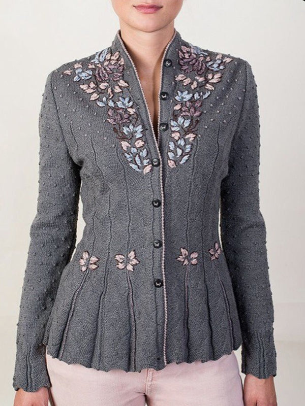 Stickerei Langarm Lässige Strickjacke