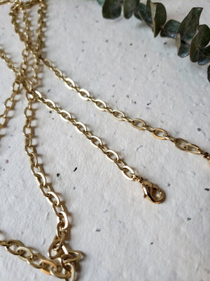 Raw brass large link mask chain