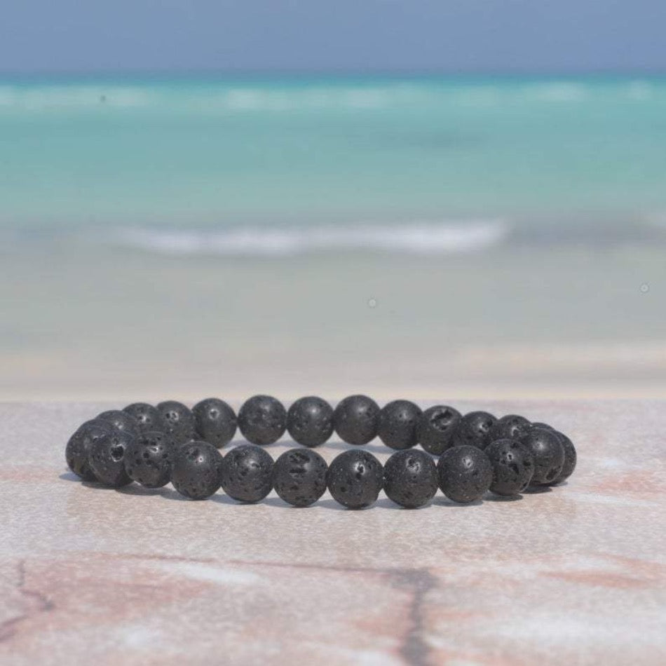 Black Lava Rock 8mm Bracelet