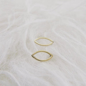 Tiny Brass Leaf Studs