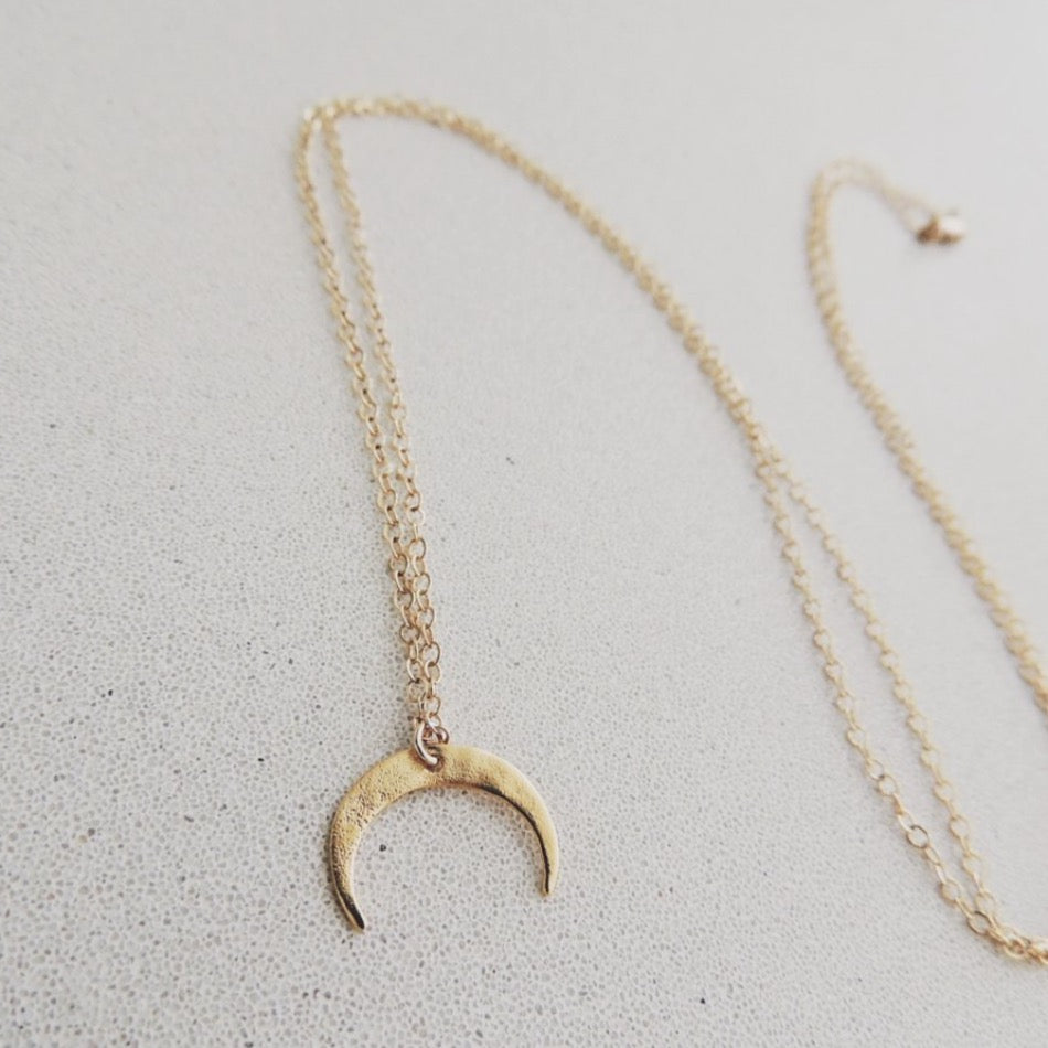 18k Gold Plated Mini Crescent Necklace