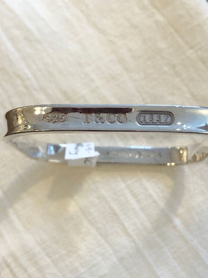 Tiffany and Co square sterling silver bangle bracelet 1997