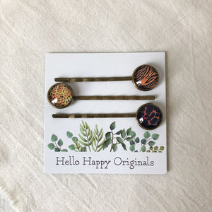 Set of 3 Animal Print Hair Pins