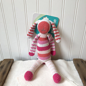 Pink and White Striped Bunny Rattle