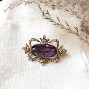 14k Amethyst and seed pearl brooch