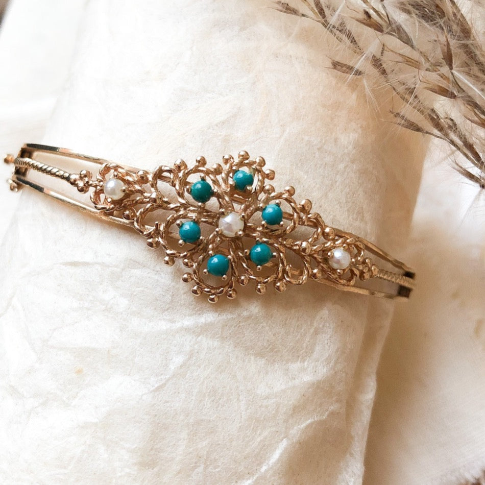 14k turquoise and pearl bracelet