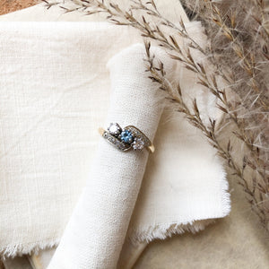 14k 18k Aquamarine and diamond ring