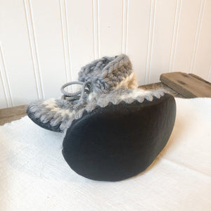 Baby Merino Wool Slippers- Grey/White