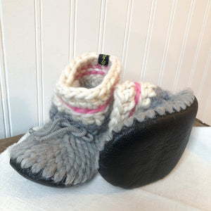 Kids Merino Wool Slippers- Pink Sock Monkey