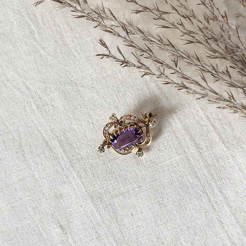 Amethyst and Diamond Antique brooch c1900 14k yellow gold