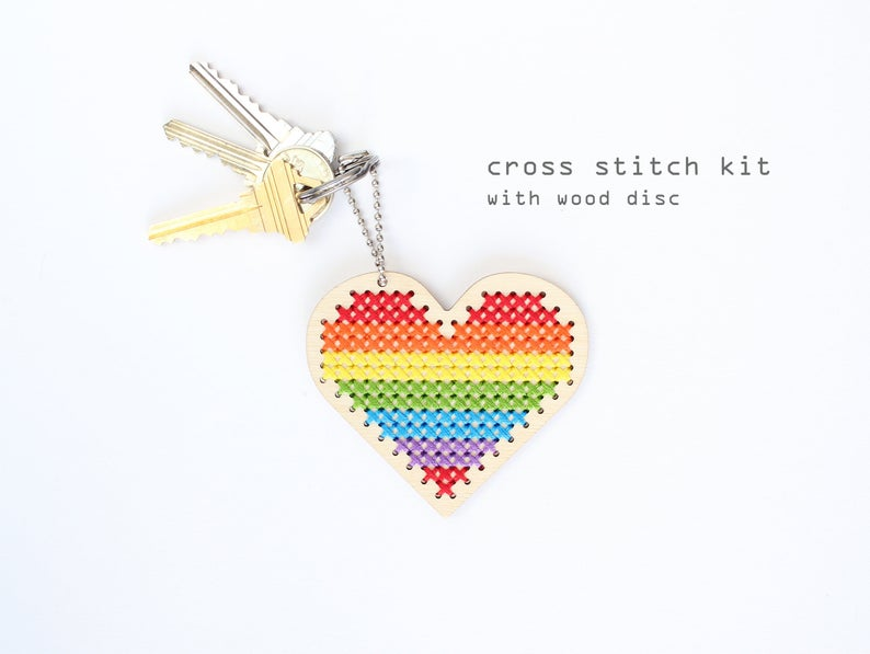 Sweetheart DIY Cross Stitch Kit Keychain