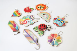 Diana Watters Over the Rainbow DIY Cross Stitch Kit Keychain