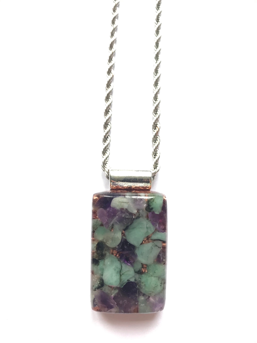 Orgonite Pendant with Emerald & Amethyst