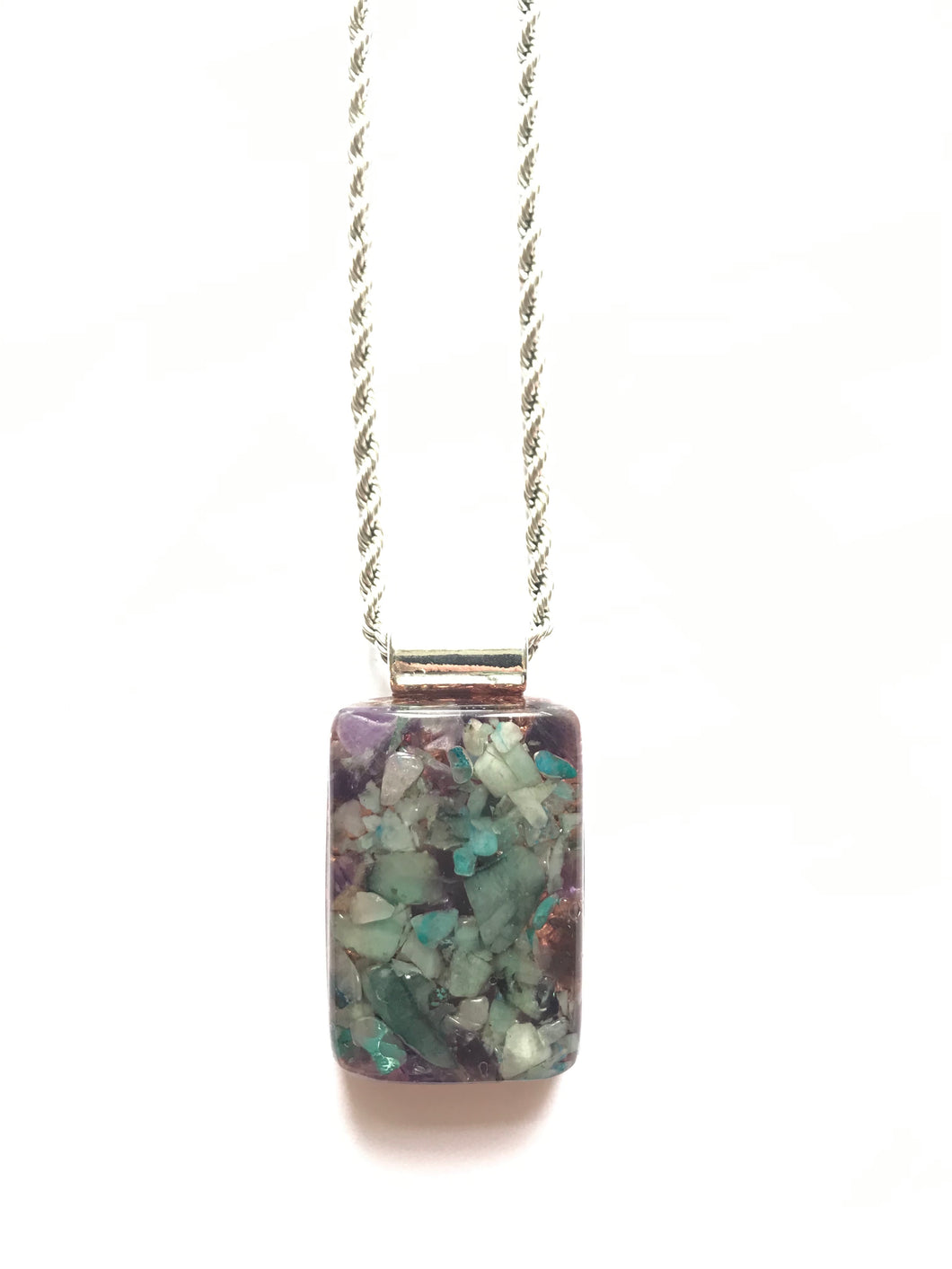 Orgonite Pendant with Emerald, Amethyst & Chrysocolla