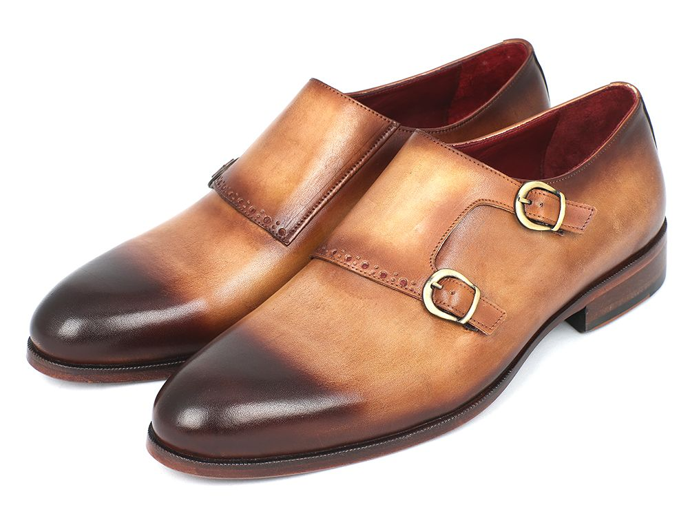Paul Parkman Two Tone Double Monkstrap Shoes (ID#HT54-CML)