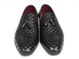 Paul Parkman Men's Tassel Loafer Black Woven Leather (ID#085-BLK)