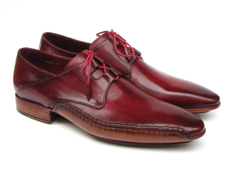 Paul Parkman Men's Ghillie Lacing Side Handsewn Dress Shoes - Burgundy  (ID#022-BUR)