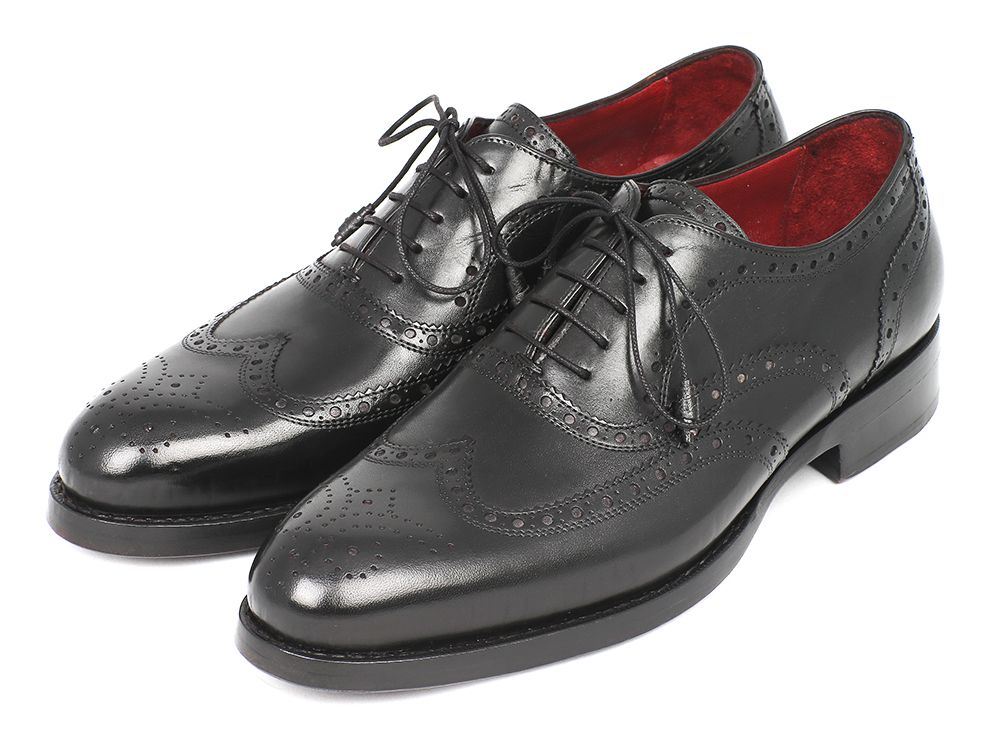 Paul Parkman Men's Wingtip Oxford Goodyear Welted Black (ID#027-BLK)