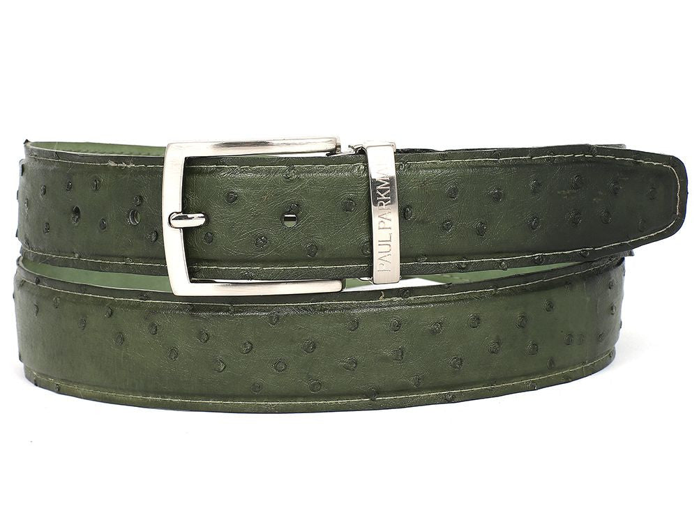 PAUL PARKMAN Men's Green Genuine Ostrich Belt (ID#B04-GREEN)