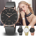 Modern Fashion Black Quartz Watch Men Women Mesh Stainless Steel Watchband High Quality Casual Wristwatch Gift for Female