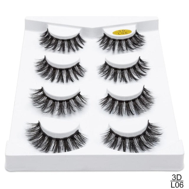 SEXYSHEEP 2/4 pairs natural false eyelashes fake lashes long makeup 3d mink lashes eyelash extension mink eyelashes for beauty