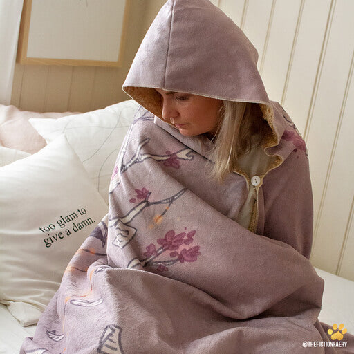 emposia bookish hooded blankets with button attachment and hood as a gift for book lovers