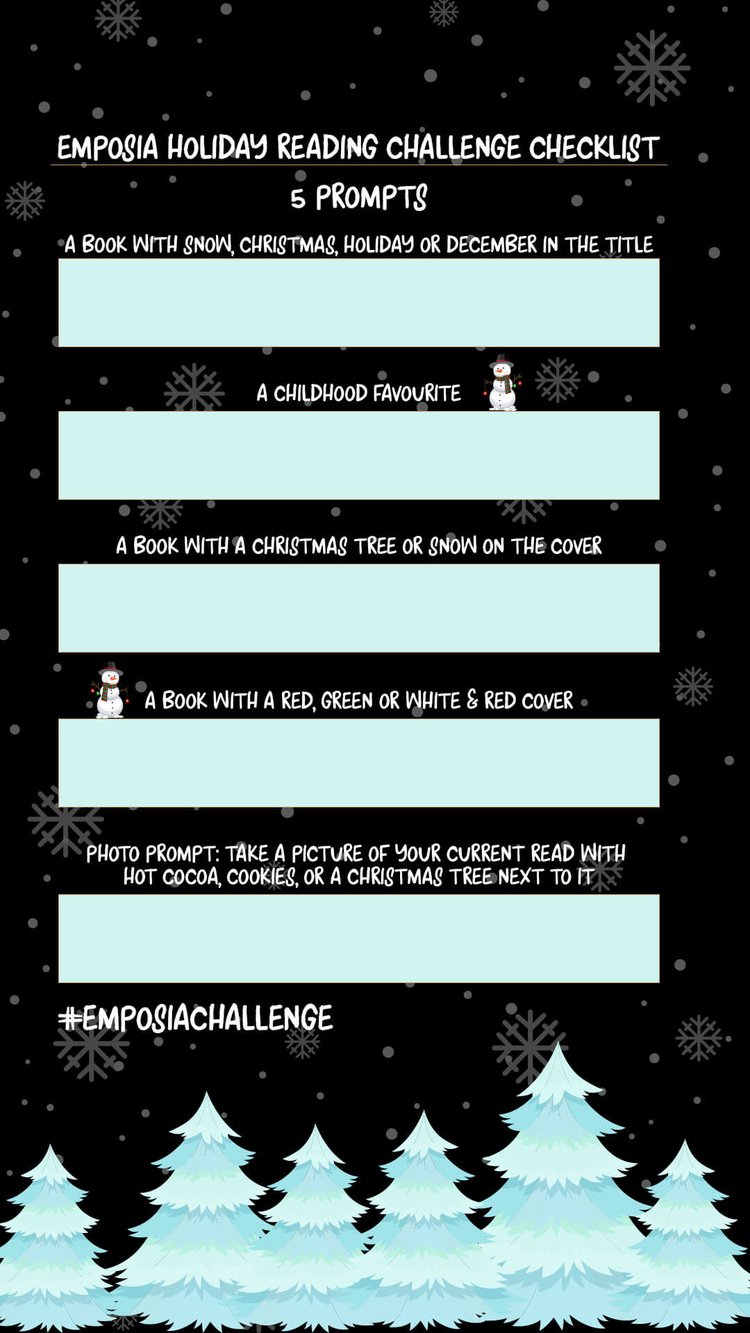 emposia holiday reading challenge for bibliophiles template