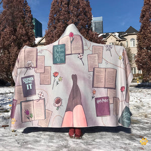 emposia cozy classics hooded blanket for book lovers
