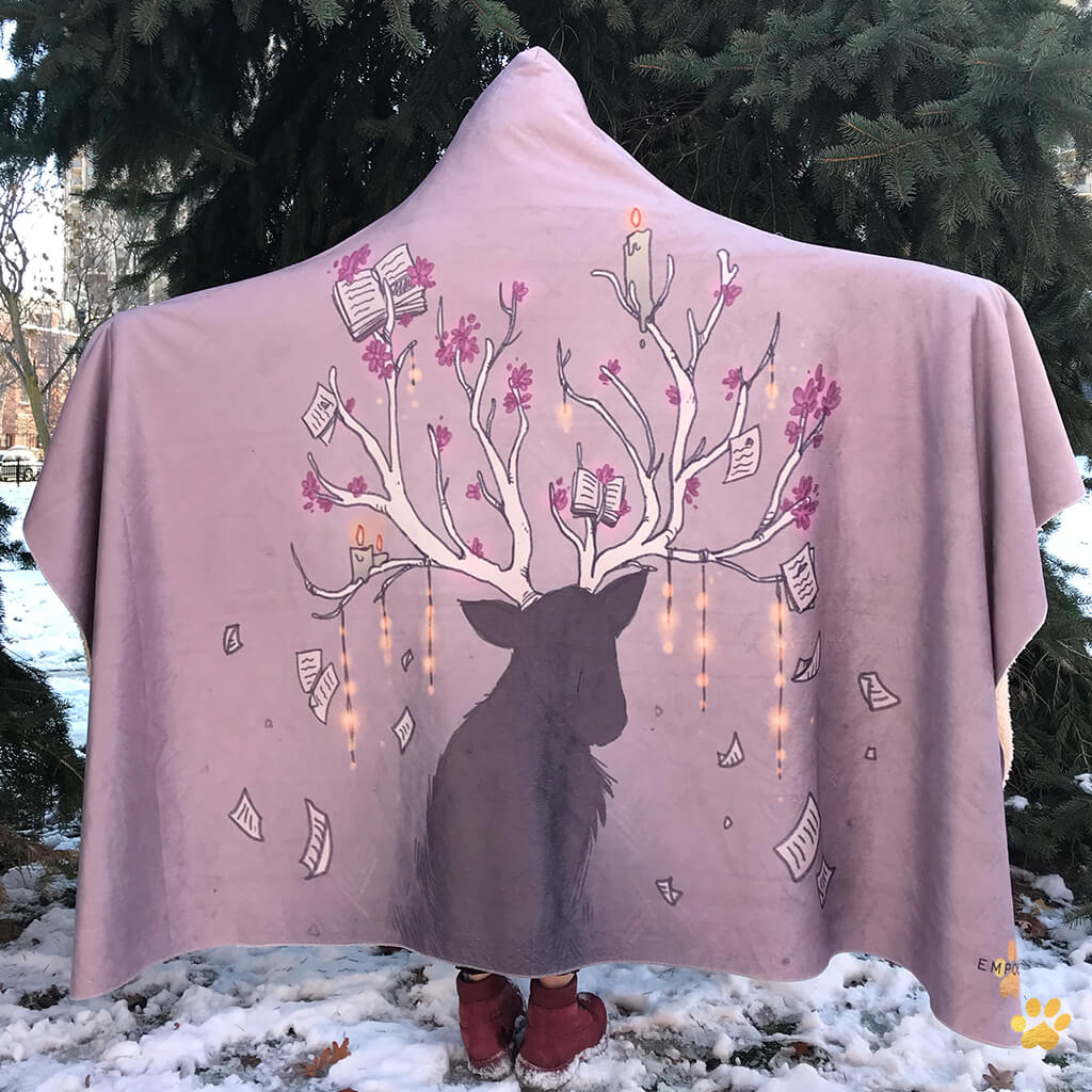 emposia deer reader hooded blanket with button for book lovers